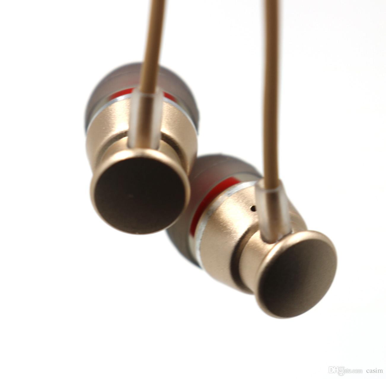 CASIM Kulak Kulaklık Kulaklık 1.25 M 3.5 MM Metal Kulaklık Ağır Bas Gürültü Ile Ses Kulak Eller Serbest Perakende Kutusu Ile Mic