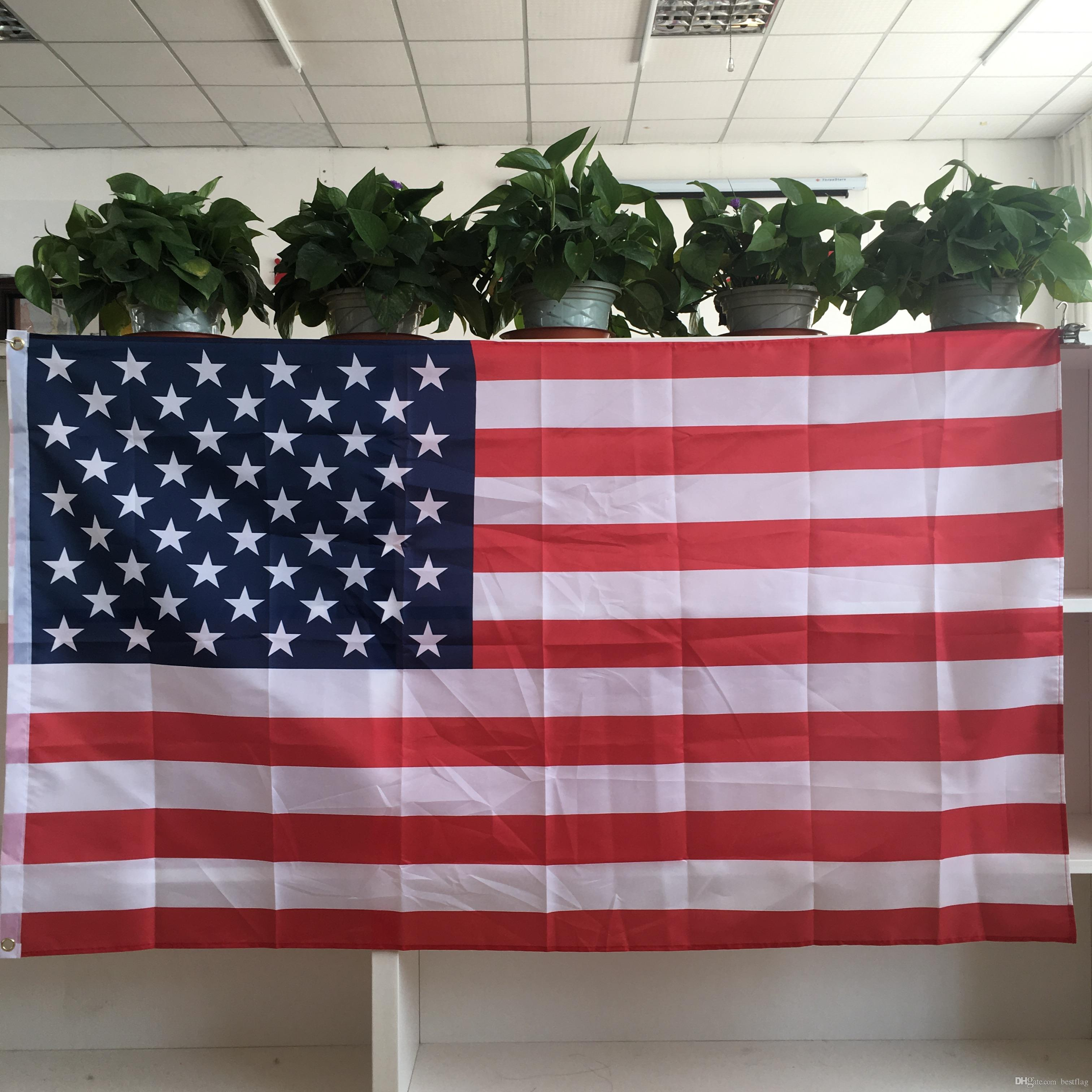 63b8b018aba8 2019 Wholesale Factory Low Price American National Flag 3x5ft Polyester  Flying Banners With Two Metal Grommets From Bestflag