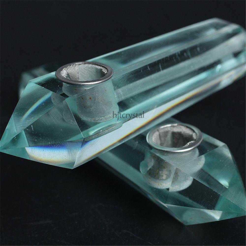 HJT Wholesale new novelt Carb Hole smoking pipes natural CRYSTAL quartz gem Tobacco smoking Pipes Hand Pipe + 3 Metal Filter