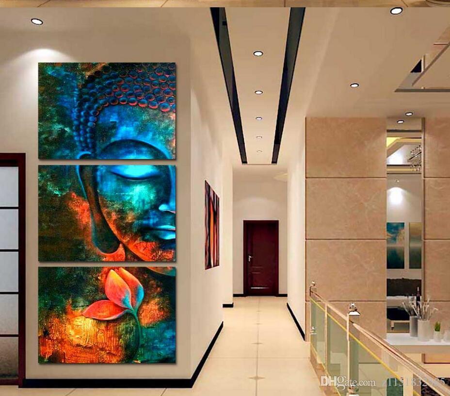 3 stücke Abstrakte blaue Buddha Moderne wohnkultur Leinwanddruck Malerei Wandkunst Bild Für Wohnzimmer dekor bild
