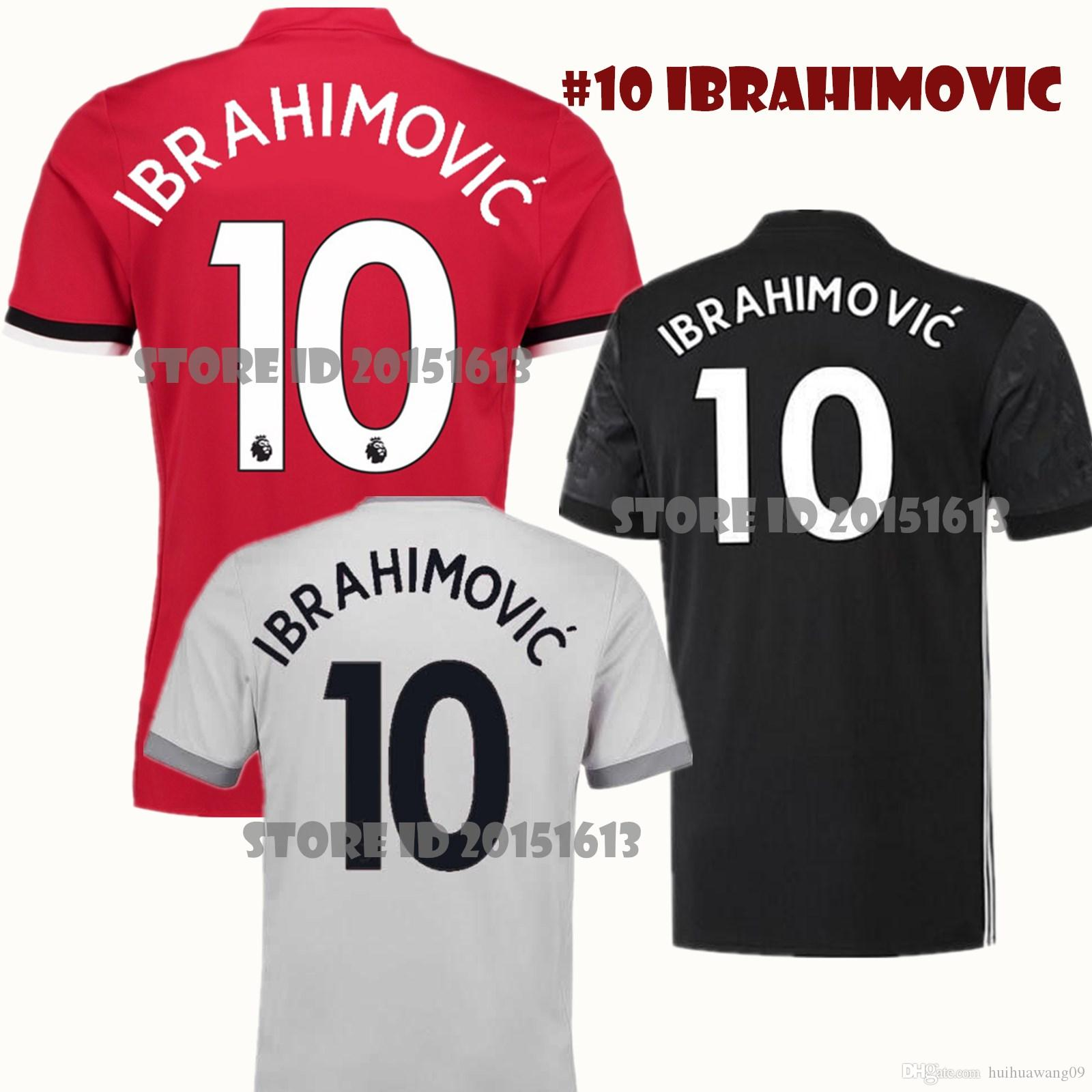 d729c6774 ... 2017 2017 18 United 10 Ibrahimovic Soccer Jerseys Man Utd Jersey 2018  Home Away Pogba 9 ...