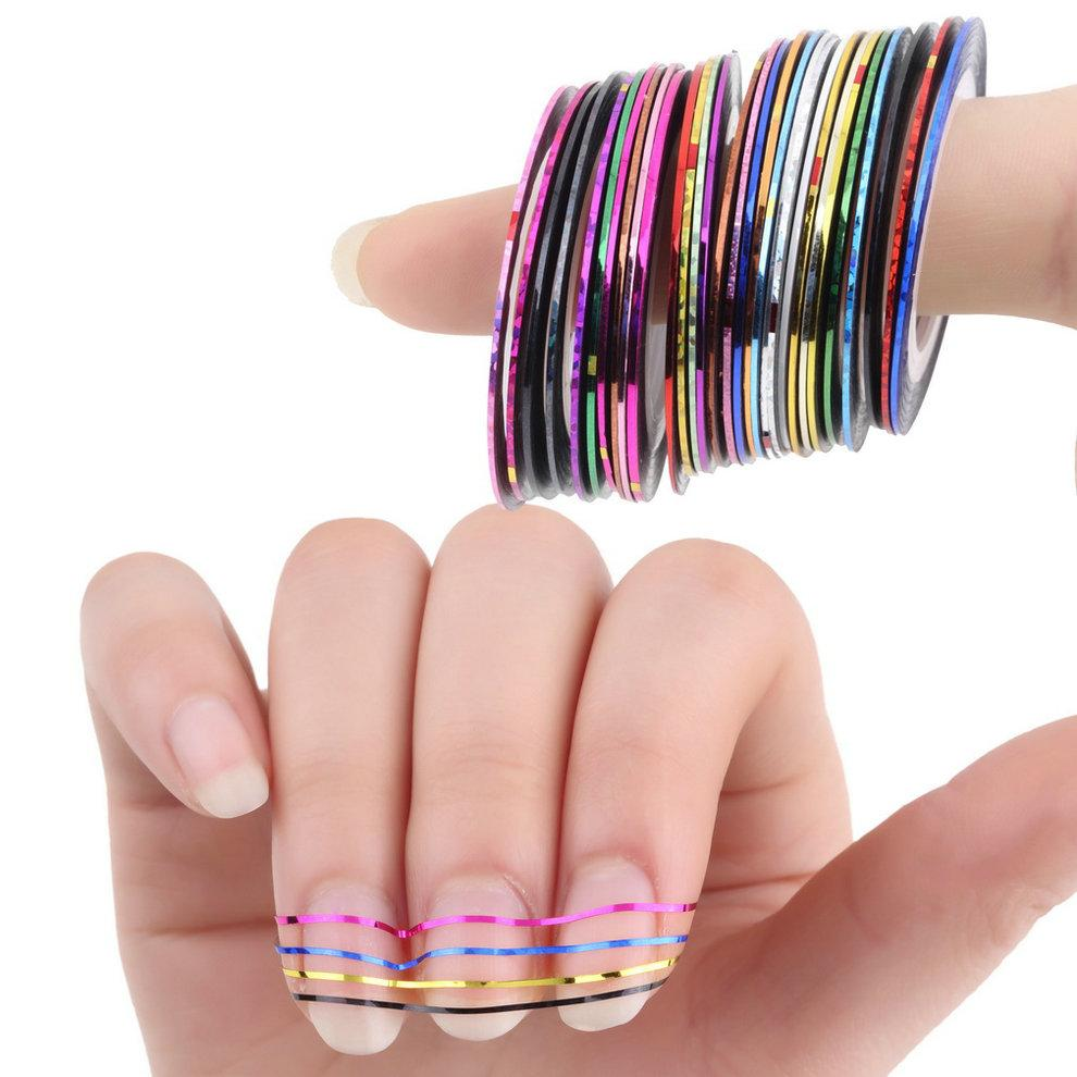 Wholesale Mixed Colorful Beauty Rolls Striping Decals Foil Tips Tape ...