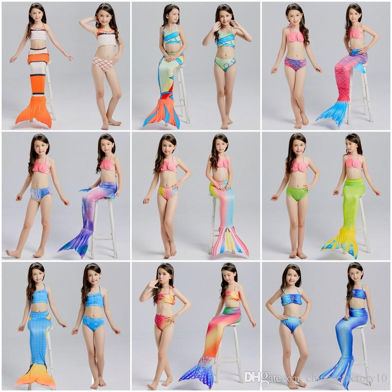 2019 Girls Mermaid Tail Swimsuits Kids Bikini Swimwear + Mermaid Fins  Beachwear Three Pieces Sets Girl Bathing Suit Photography Props From  Chinesefactory10 0e95a6ddcec2