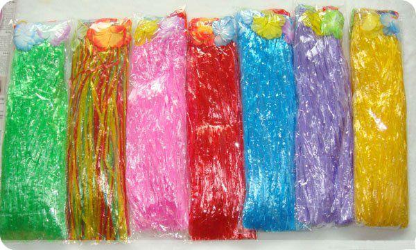 Venta al por mayor Hawaiian Hula Grass Skirt Set 40cm Luau Flower Falda Flower Lei Pulsera Diadema Niños Niños Envío gratis