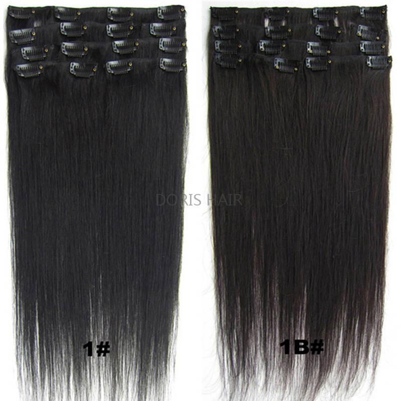 Blond Black Brown Silky 스트레이트 클립 인간의 머리카락 확장 70g 100g 120g 브라질 인도 레미 머리 전체 머리