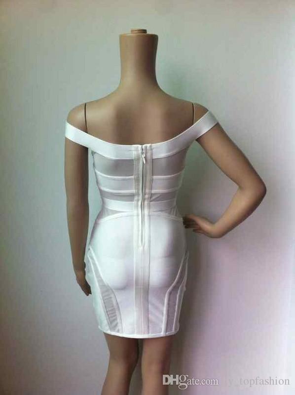 4 Cores Top Quality Branco Vermelho e Preto Off The Shoulder Bandage Vestido Celebridade Bodycon Vestido