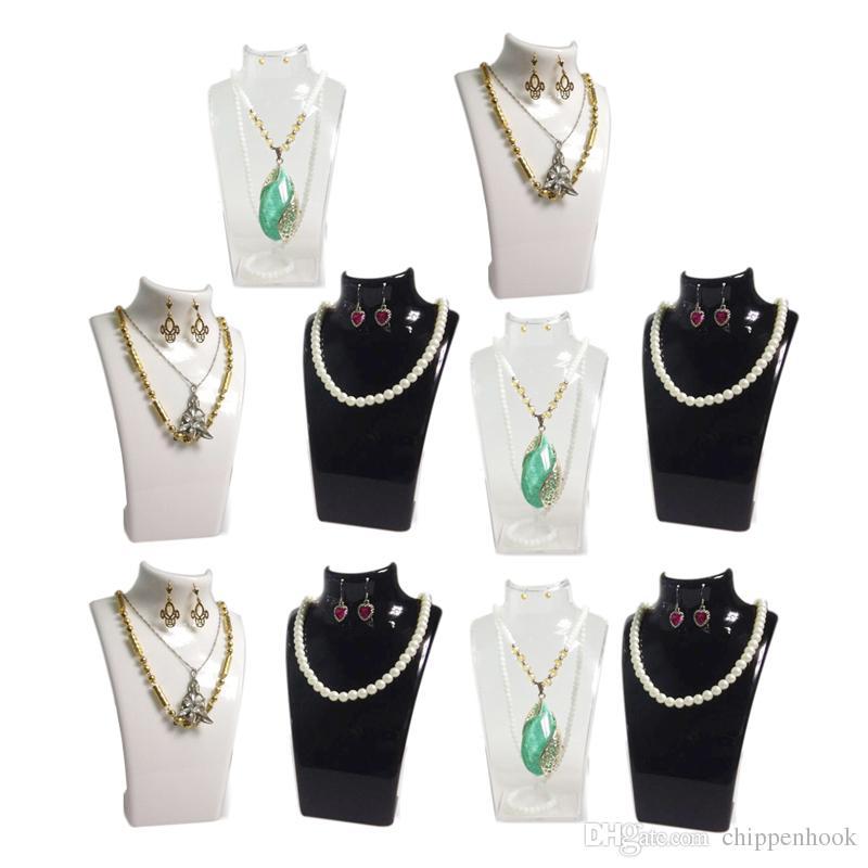 moda display gioielli busto acrilico collana scatola di immagazzinaggio orecchino pendente organizer display set stand holder mannequin rack