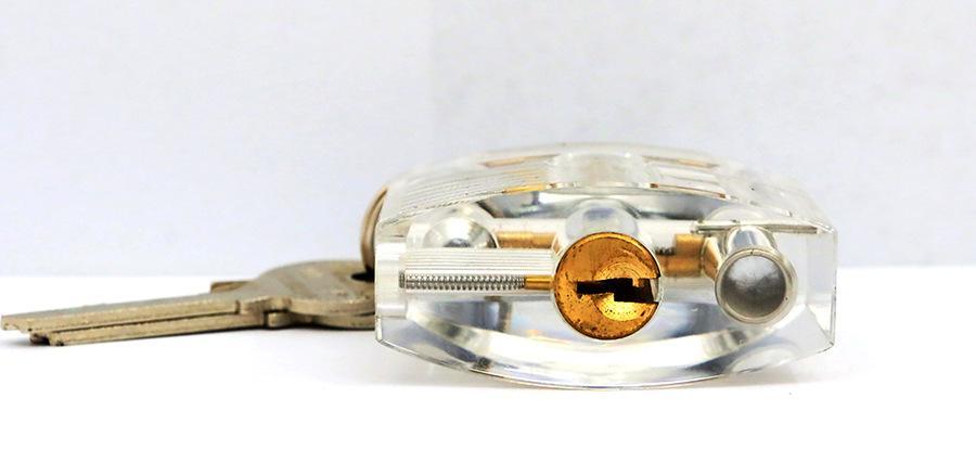 Lockmaster 7 Stifte Transparent Cutaway Praxis Plexiglas Schloss Vorhängeschloss mit Locker Master Key für lockpicking Praxis Tools DHL