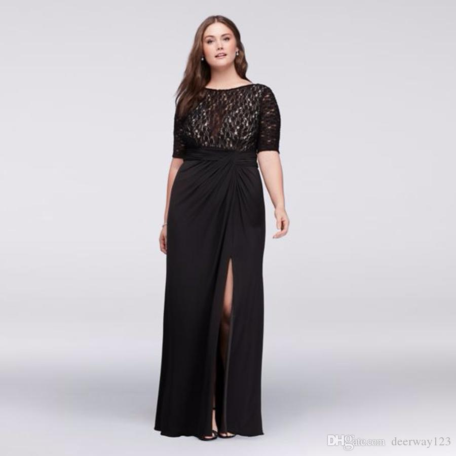 8a842326d9c Lace Bodice Plus Size Dress With Ruched Skirt WBM1123W Half Sleeves Black  Sexy Mother Of The Bridal Dres Wedding Party Dress Formal Dresses Mother Of  The ...