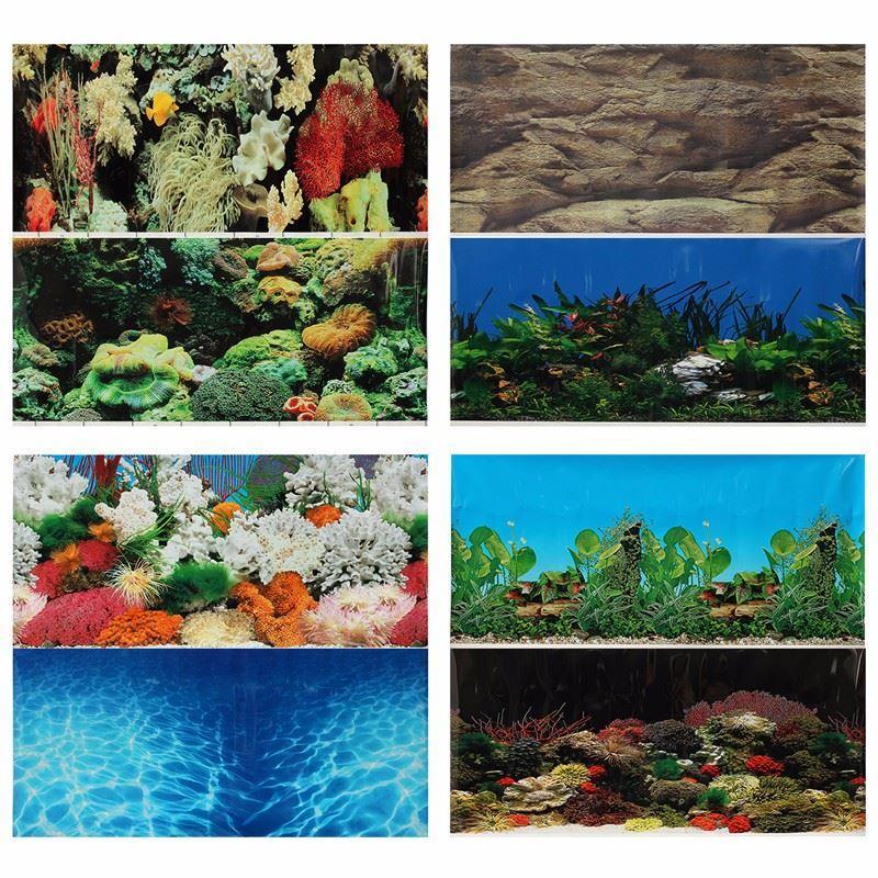 Double PVC Face Aquarium Paysage Fish Tank Affiche Fond Vivarium Décor Divers Modèles