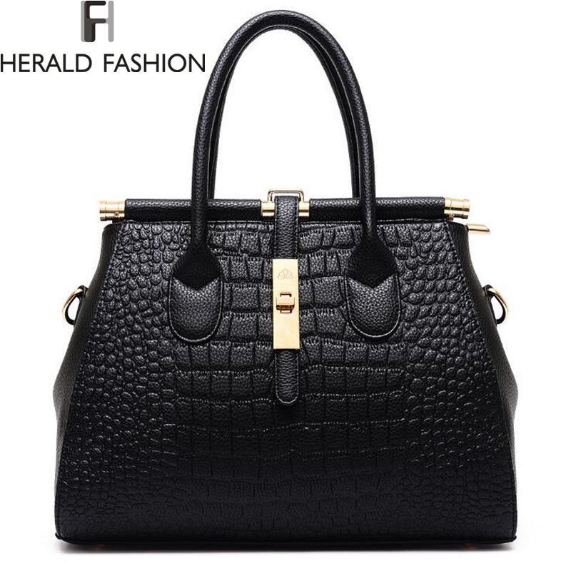 Wholesale Alligator Women Bag Metal Lock Top Handle Bags Messenger Bags  High Quality PU Leather Handbags Shoulder Bags Tote Herald Fashion Ladies  Bags ... e8b21591c0c10