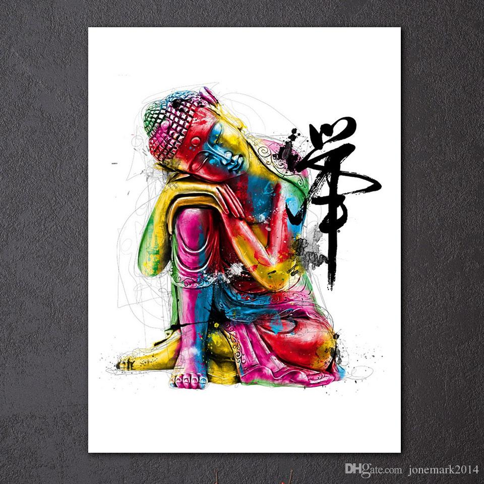 Watercolor Chan Meditation Buddha Wall Art Canvas Pictures For Living Room Still Life Home Decor Canvas Oil Paintings