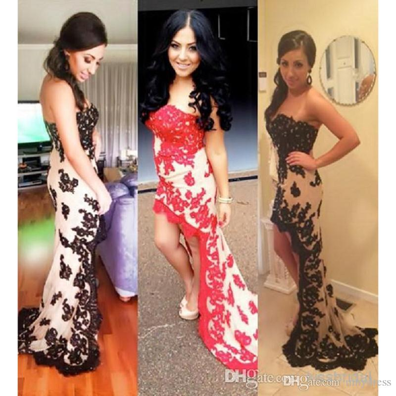 Lace High Low Prom Dresses 2017 Sexy Strapless Formal Evening Gowns Wear For Women Mermaid Special Occasion Party Dress