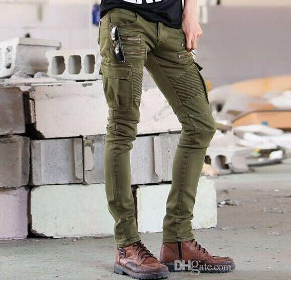 New Army Military Green Camouflage Skinny Slim Stretch Jeans Trousers Short Leg