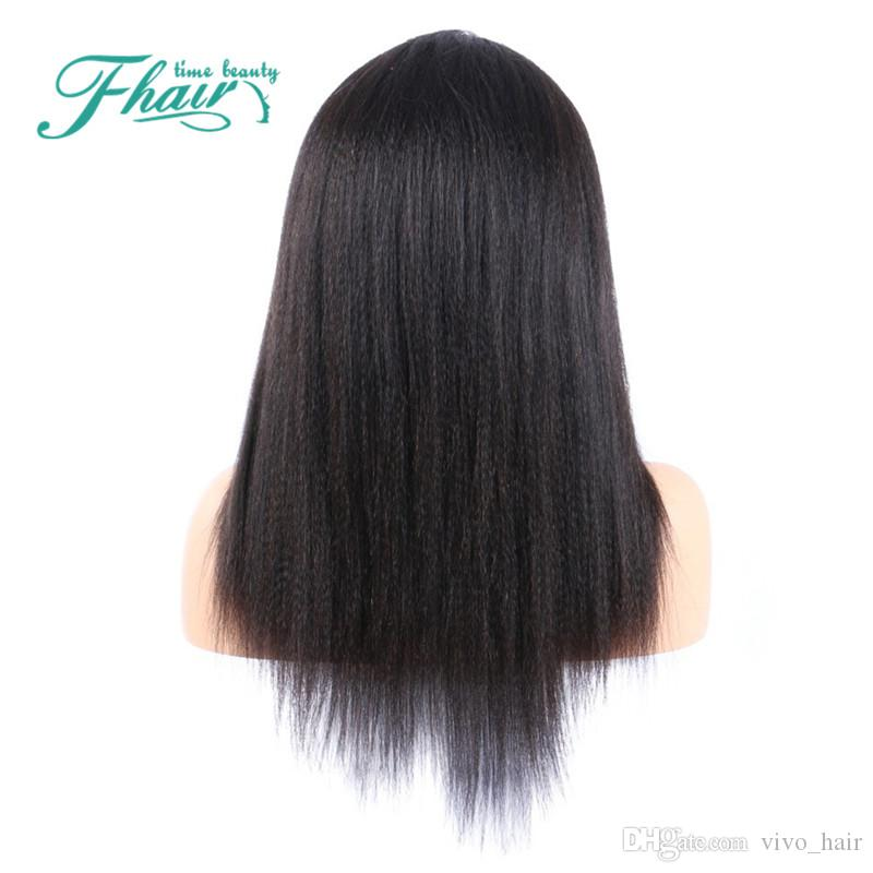 Grade 9A Lumière Yaki Partie Droite Côté Pleine Dentelle / Lace Front Perruques Humaines Vierge Cheveux 100% Perruques Péruviennes Non Transformées Vente Pour Les Femmes