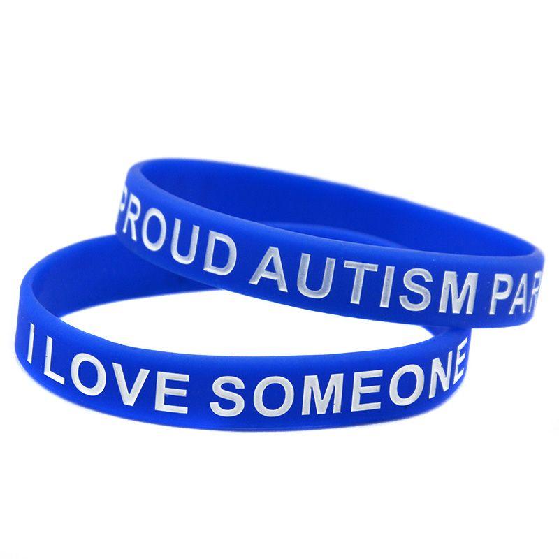autismo silicone borracha pulseira azul tamanho adulto debossed e cheio de cor para presente de promoção