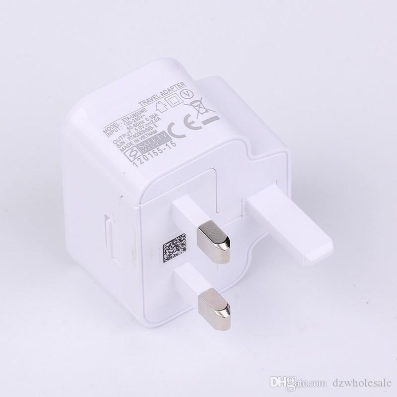 High qulity UK Plug 5V full 1A 2A Wall AC Charging Adapter For Samsung Galaxy S7 S6 S5 S4 Note 2 3 4 5