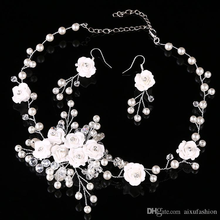 Pearls Beaded Earrings & Necklace Wedding Costume Jewelry Sets Vintage Bridal Necklace And Earring Set Wedding Party Accessories