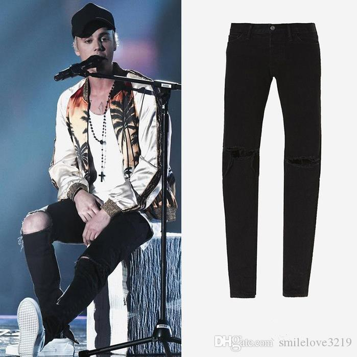 New Hot Fashion 2016 Fear of God FOG fermetures à glissière skinny slim fit mens Distressed justin bieber noir coton Denim jeans hommes jean