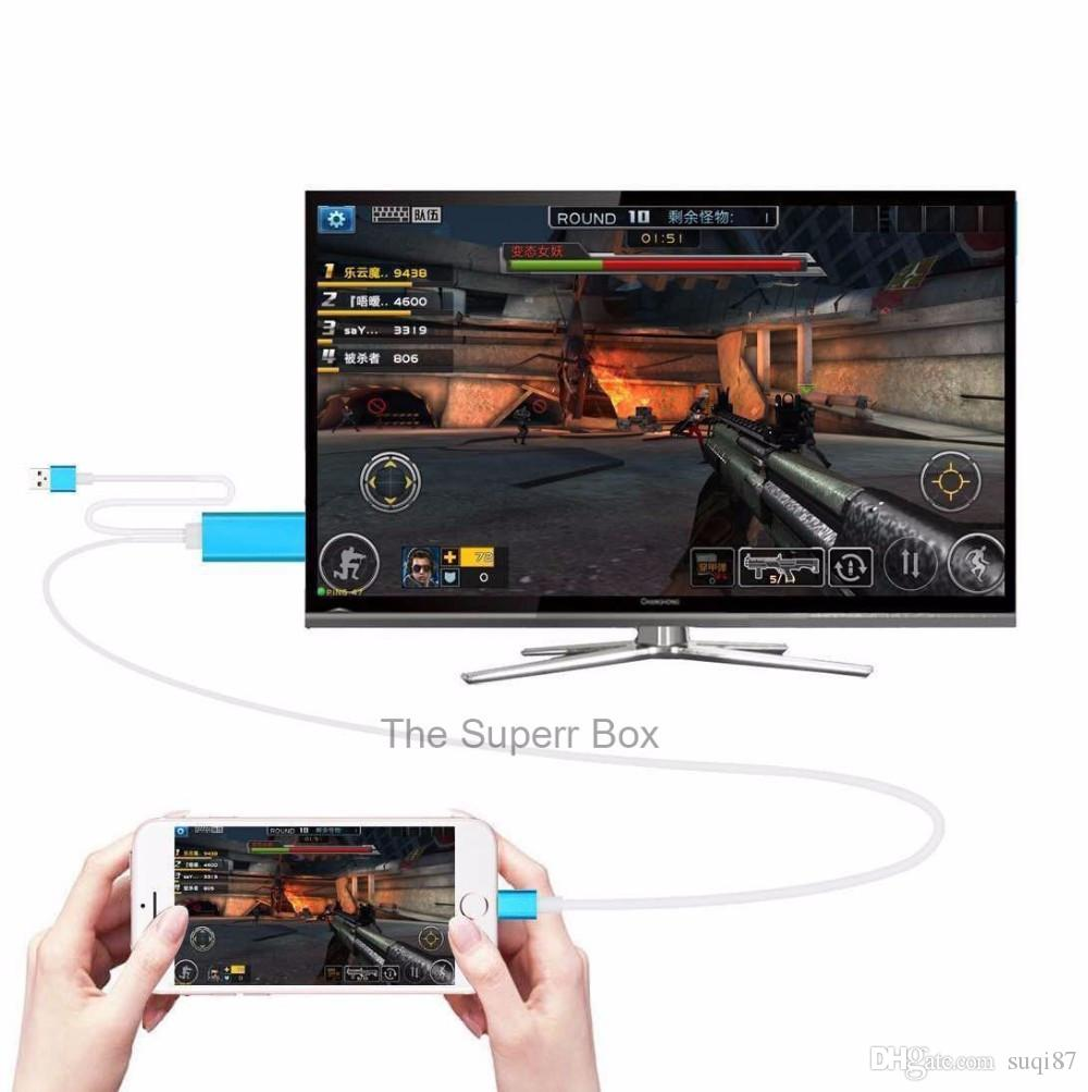 2M 1080p Dock to HDMI HDTV TV Adapter USB Cable For Iphone 6/7/8/x Ipad With retail package