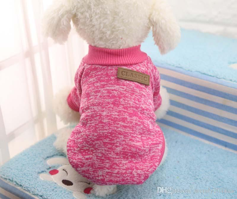 / lote Quente Roupas Para Cachorro Pet Cat Cachorro Casaco Jaqueta Casaco Camisola Macia Roupas Para Chihuahua Yorkie 8 Cores XS-2XL