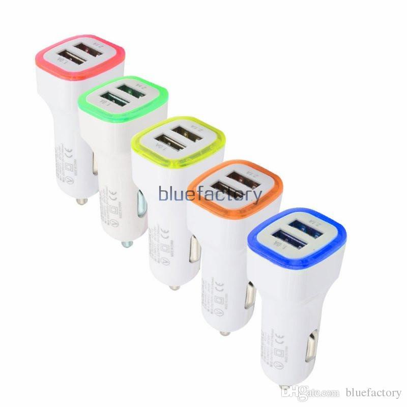 5 v 2.1a dupla portas usb levou adaptador de carregador de carro leve adaptador de carregamento universal para iphone samsung s7 htc lg telefone celular