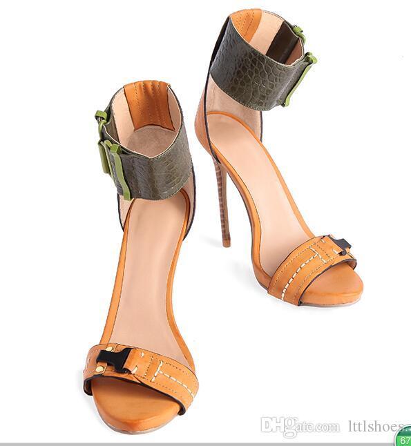 Roma Stil Bir Kelime Kayış Sandalet Kadın Ayak Bileği Toka Wrap Sandal Seksi Yüksek topuklu Ziyafet Stilettos Kahverengi Elbise Parti ayakkabı kadın