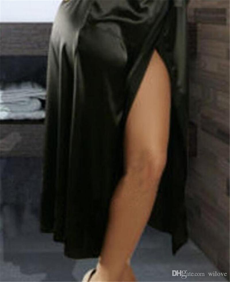 Сексуальные Женщины Пижамы С Длинным Шелковый Кимоно Платье Ванна Одеяние Сорочка Женское Белье Nightdressn Девушка Вечернее Платье