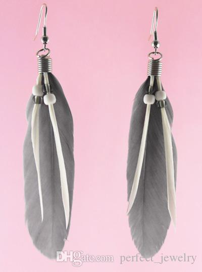 Feather Earrings wholesale Cute Bead Charm Simple Light Dangle Eardrop Hot White Black Purple Blue Green Yellow Red JF129