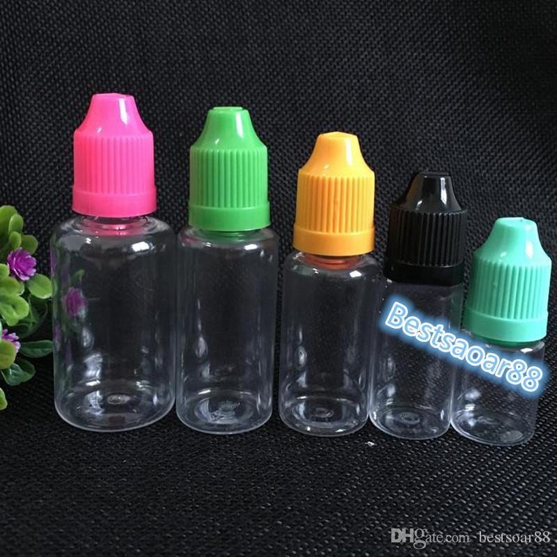 Factory Price Dropper Bottle 30ml Plastic PET Child Proof Caps Long Thin Tips Clear E Liquid Needle Bottles 30ml For E Vapor Cig