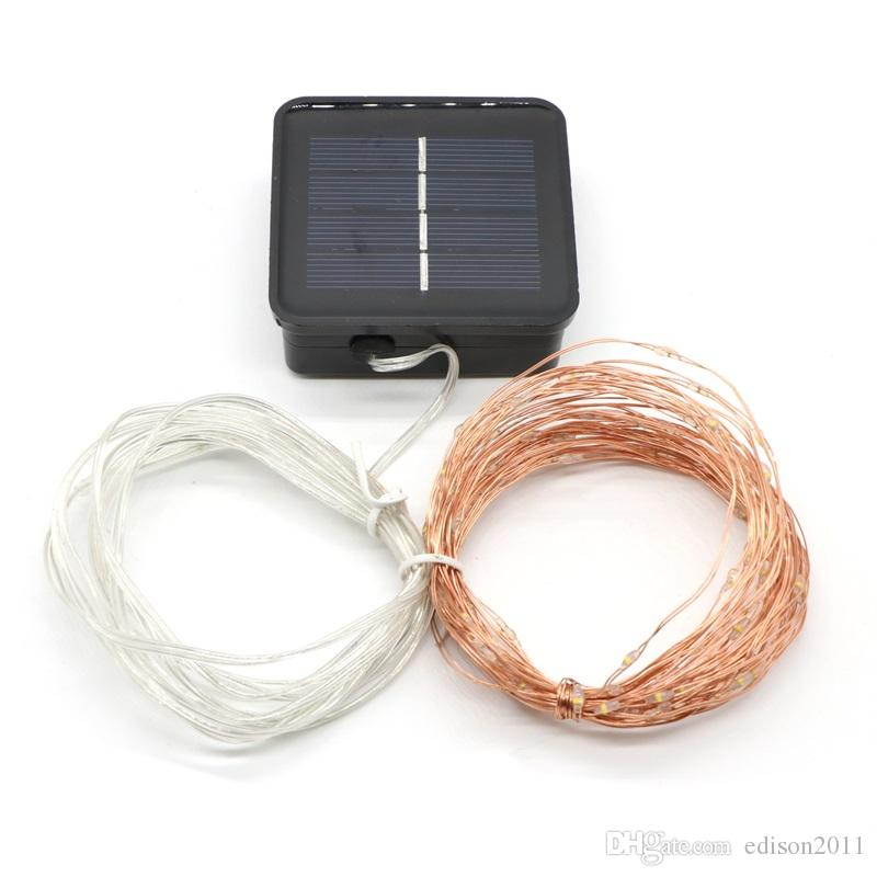 8 modos 10M 100LED Luz solar Cadena de hadas Luz Blanco cálido Blanco Púrpura Cambiable Jardín Navidad al aire libre