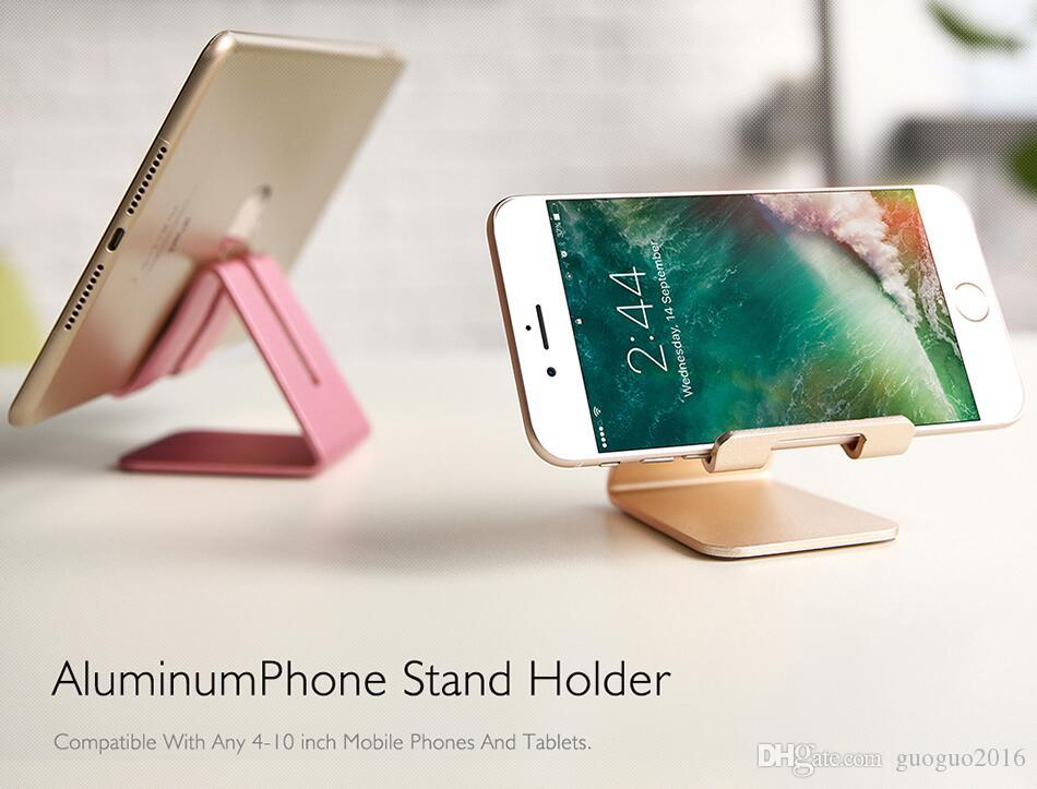 Cell Phone Stand Universal Aluminum Metal Phone Holder For iPhone 6 7 Plus Samsung S8 Tablet Desk Phone Holder Stand For Smart Watch G0497