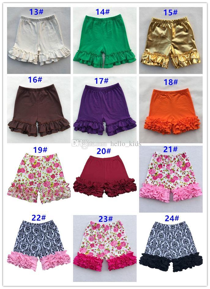 2017 baby flicka ruffle shorts shorties toddler barn sommar shorts flickor ljusa roliga sommar färger ruffles isbyxor bottnar barn kläder