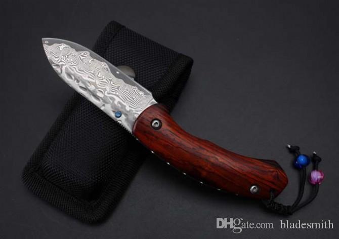 Envío gratis Thomas Damascus - extraño cuchillo plegable para peces, hecho a mano de alta calidad, material de mango de madera de cocobolo