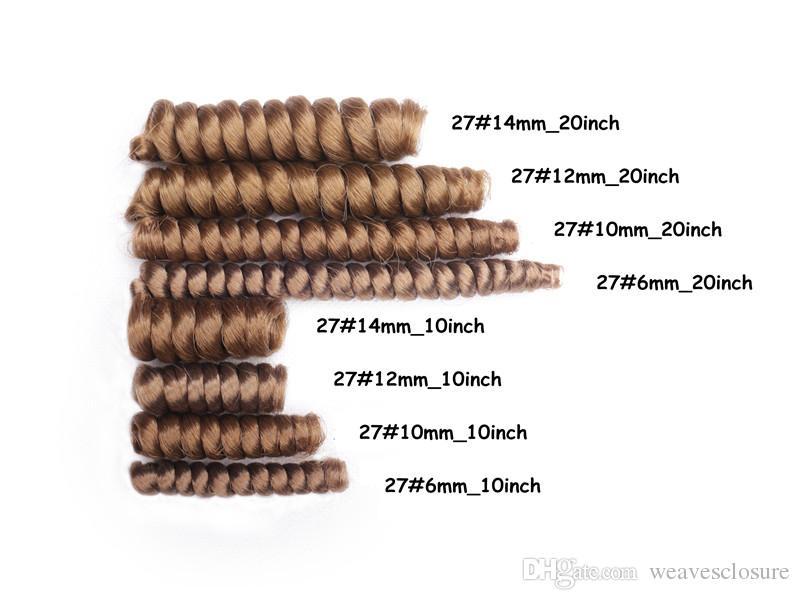 2017 뜨거운 판매 10MM 직경 10inch, 20inch 크로 셰 뜨개질 머리카락 CURL kanekalon 작은가 C픈 머리카락 합성 바느질 크로 셰 뜨개질 머리 확장