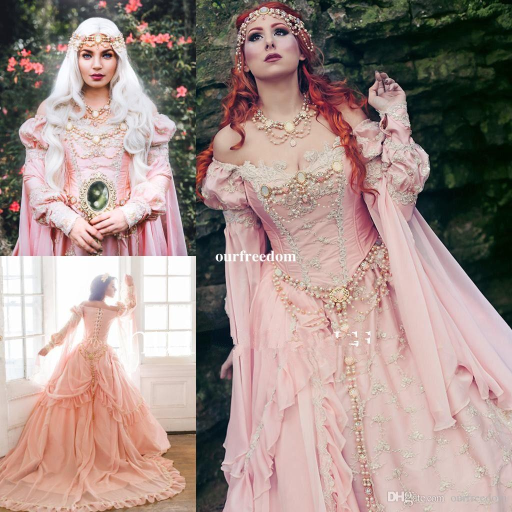 Medieval Pink Ball Gown Wedding Dresses 2019 Off The Shoulder Royal Sleeve Pearls Garden Bridal Gown Vintage Lace Up Custom Made