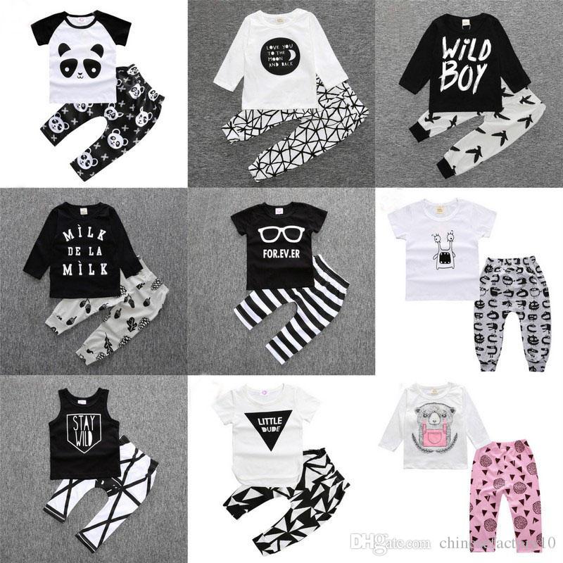 d36c259b7f13 Baby Boys Girls Cotton Long Sleeve T-Shirts + Pants Sets Kids Summer ...