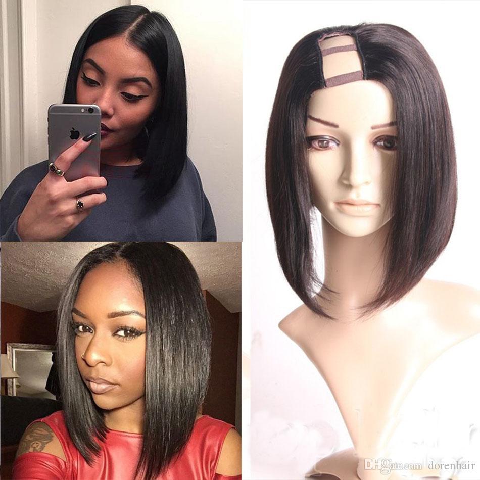 short bob u part wigs straight cut middle part for black women