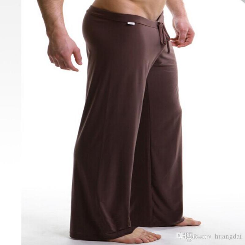 Erkekler için 1 adet mens uyku dipleri eğlence seksi pijama Manview yoga uzun pantolon külot iç çamaşırı pantolon ücretsiz kargo