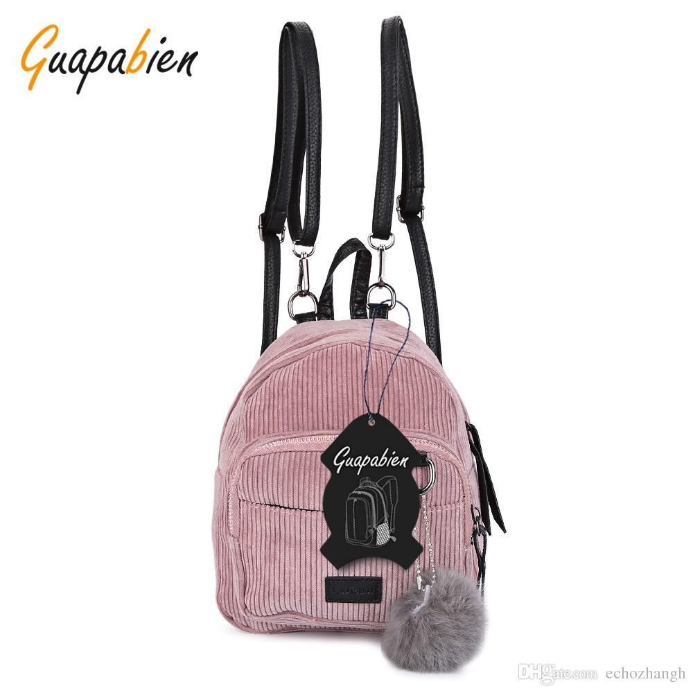 b043a3188de9 Guapabien Mini Corduroy Fabric Women Backpack Fluffy Ball Shoulder ...