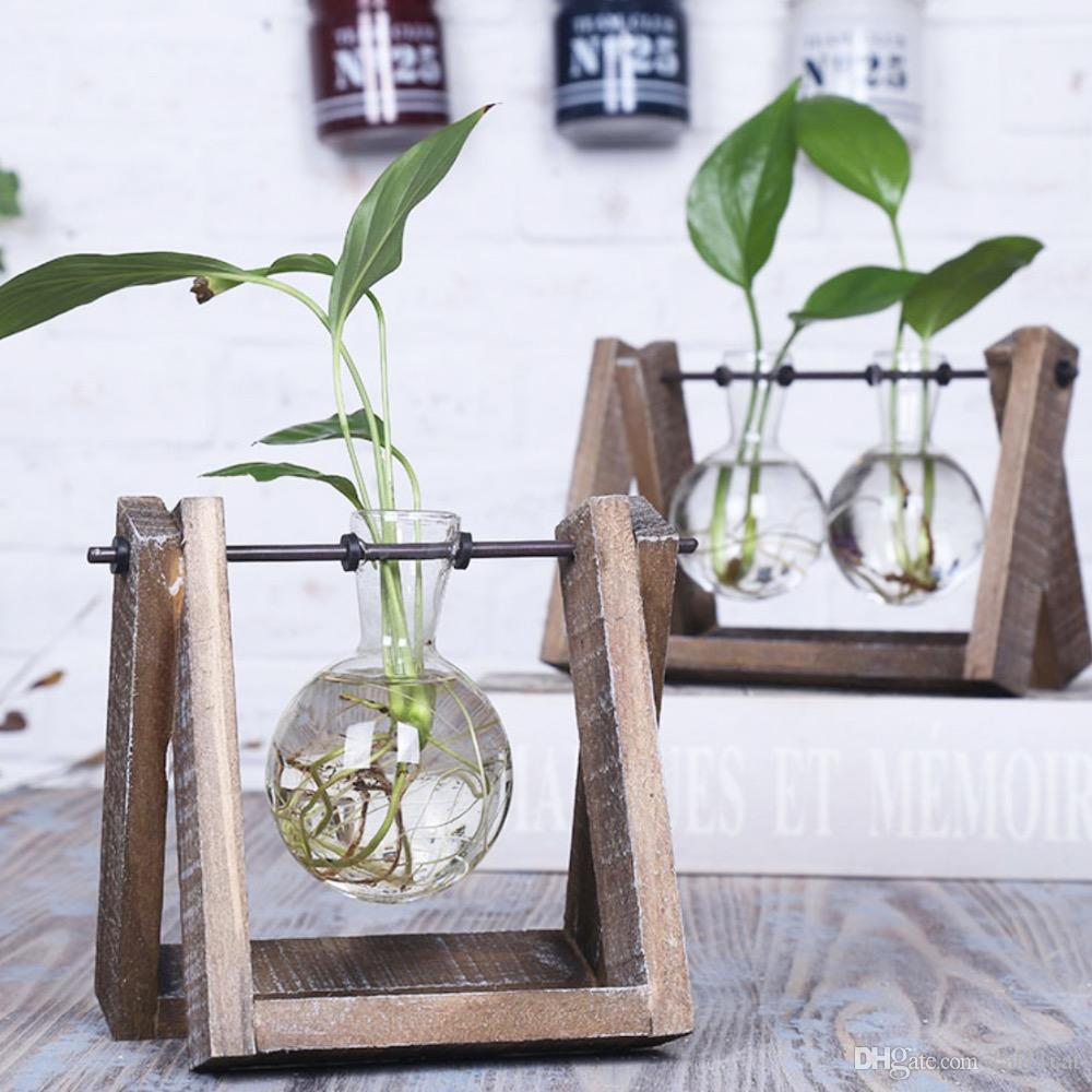 3 Types Modern Style Glass Tabletop Plant Bonsai Flower Wedding Decorative Vase With Wooden Tray Home Decoration Accessories Cut Vases