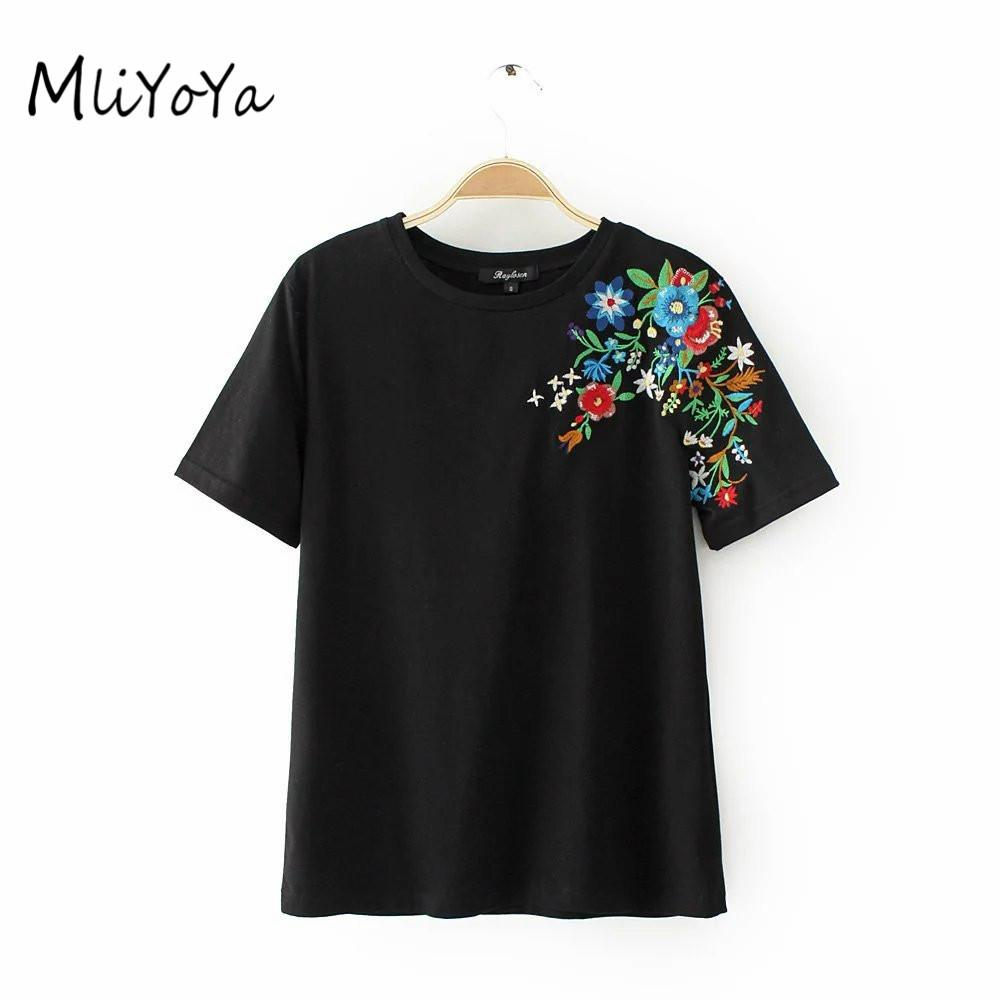 ce0b40fbc Wholesale- MLIYOYA Embroidery T Shirts Women Cotton Slim Tshirts ...