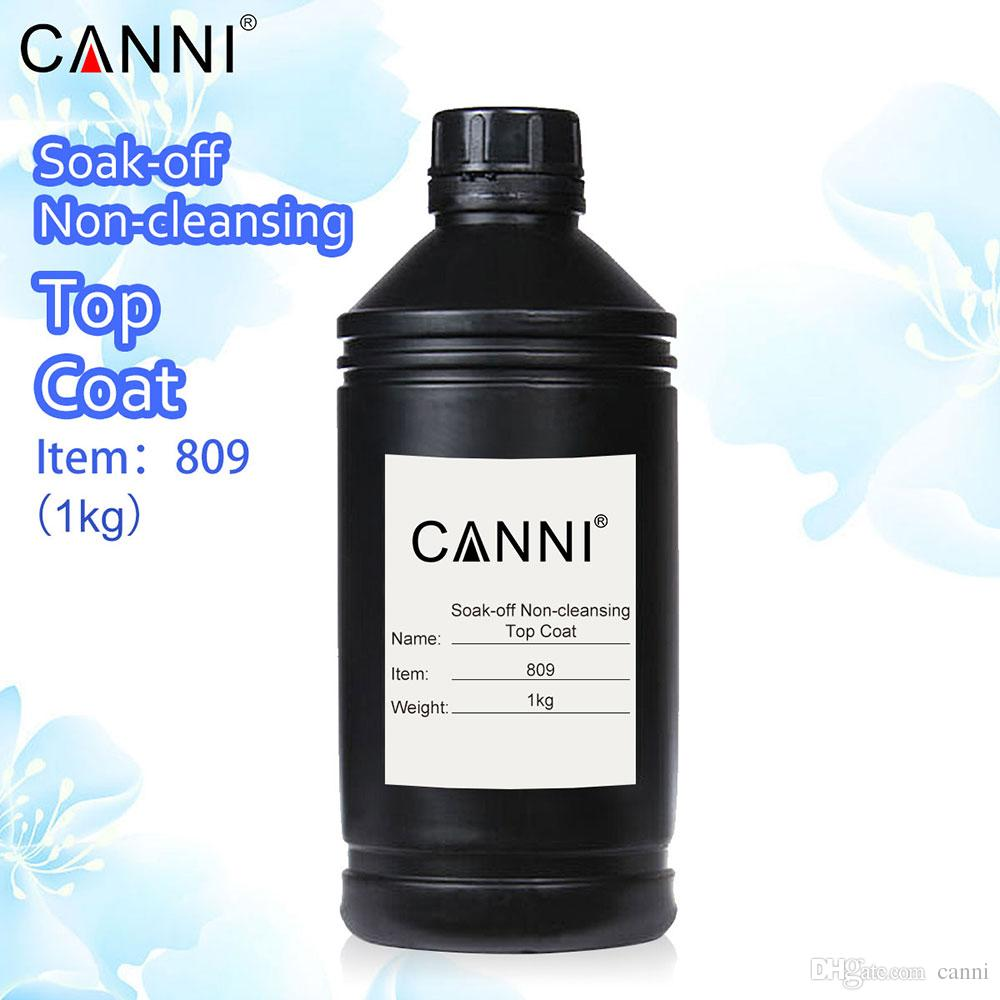 #809 CANNI Factory Supplied 1kg 1000g No-wipe Non-cleansing Topcoat All  Kinds UV Nail Gel No Sticky Top Gel