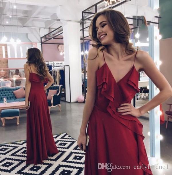2017 New Sexy Spaghettis-Correias Borgonha Vestidos de Baile Longo Elegante Ruffles A Linha de Até O Chão Vestidos Vestidos de Noite Barato Prom Party Vestidos