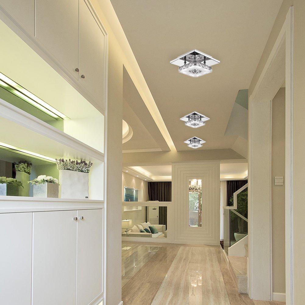 Modern LED Kristal Tavan Işık 12 W Fikstürü Kare Yüzeye Monte Kristal Lamba Koridor Koridor Asile Işık Avizeler için Tavan Işık
