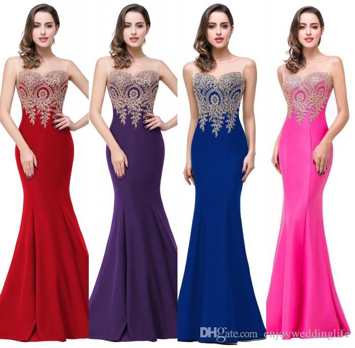 2017 Sexy Sheer Neck Sleeveless Designer Evening Dresses Mermaid ...