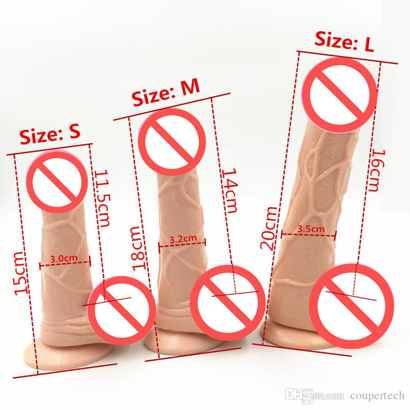 3 Size Flesh Color Realistic Dildo Flexible Penis Whith Strong Suction Cup Dildos Cock Adult Sex Products Sex Toys For Women