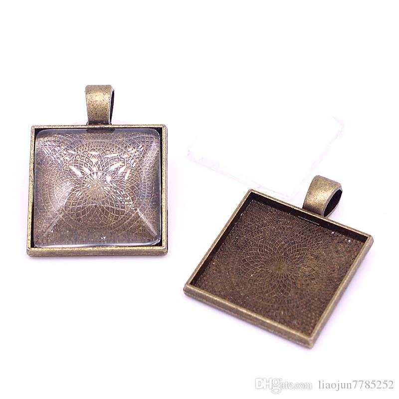 Antique Bronze Square 22*29mmFit 20*20mm dia Pendant Blanks Fit Jewelry Making Charms + Clear Glass Cabochons A4701