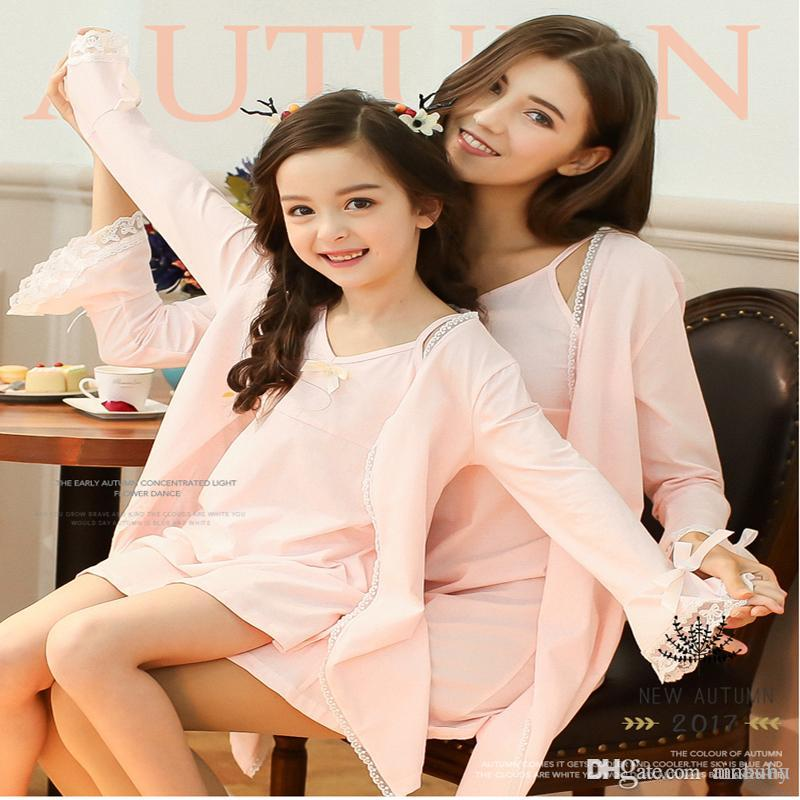 7ac24fc821c9 Cute Hello Kitty New Summer Pink Sleepwear Matching Outfits New Kids Pajamas  Clothing Casual Mother Daughter Dresses Clothes Mommy And Me Couple Matching  ...