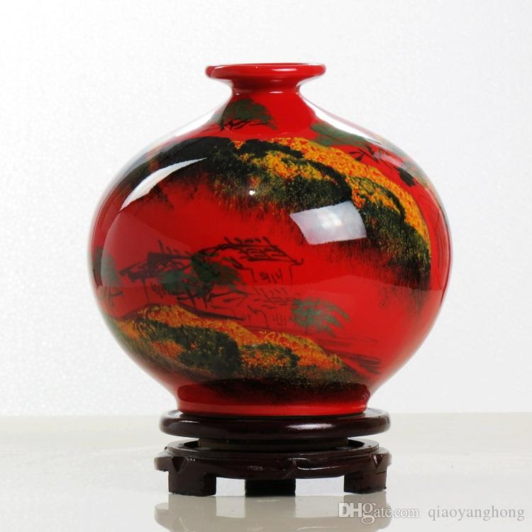 Jingdezhen Ceramics Chinese Red Vase Hand Painted Glaze Chinese Ink